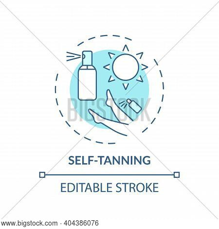 Self-tanning Concept Icon. Home Beauty Treatment Idea Thin Line Illustration. Lotions, Creams And Sp
