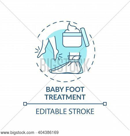 Baby Foot Treatment Concept Icon. Home Beauty Procedure Idea Thin Line Illustration. Removing Dead S