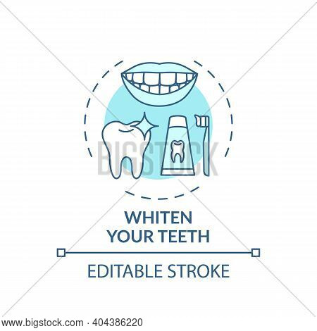 Whitening Teeth Concept Icon. Home Beauty Procedure Idea Thin Line Illustration. Whitening Toothpast