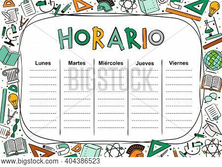 Spanish Kids Template Of A School Schedule For 5 Days Of The Week For Students. Vector Illustration