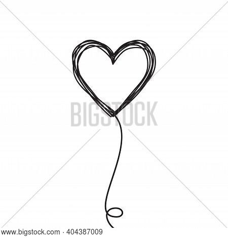 Tangled Scribbled Heart On A String Air Baloon Or Flower Like