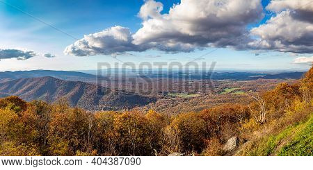 An Autumn View From The Blue Ridge Parkway Rock Point Overlook During The Fall Leaf Color Change In