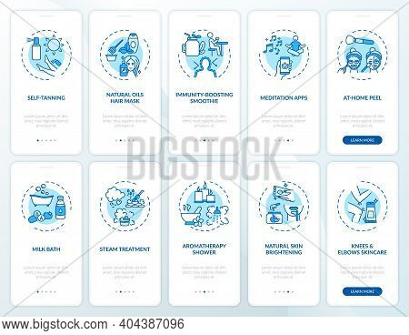 At-home Beauty Activities Onboarding Mobile App Page Screen With Concepts Set. Skin Brightening, Tre