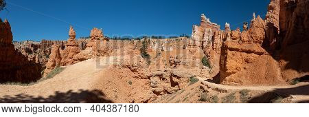 Hoodoo And Eroded Cliff Formations At Bryce Canyon National Park In Utah.