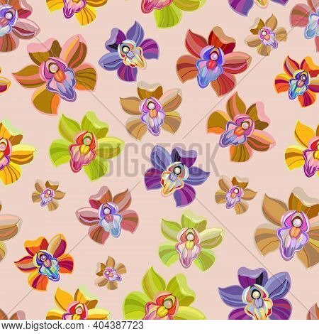 Seamless Floral Pattern With Bright Color Orchid On Light Background. Exotic Tropical Flowers. Vecto