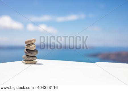 Stack Of Zen Stones Over Sea And Clouds Background. Beautiful Meditation Inspiration Zen Pebbles, En