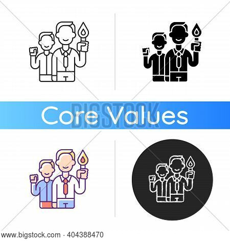 Commitment Icon. Employee Resolve. Organization Worker Accountability. Core Corporate Values. Busine