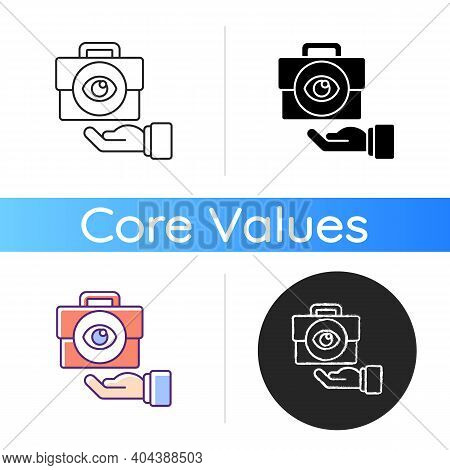 Transparency Icon. Business Mission. Company Vision. Core Corporate Values And Ethics. Service With