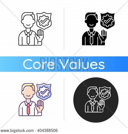 Integrity Icon. Company Employee Accountability. Core Corporate Values. Business Ethics. Administrat