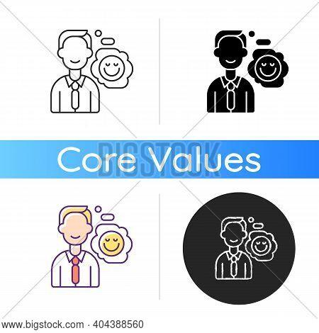 Positive Attitude Icon. Optimistic Employee. Personal Achievement. Core Corporate Values. Job Motiva