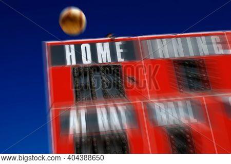 Baseball scoreboard sports with homerun hit big swing score