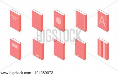 Book Isometric - Set Of Paperback Literature With Various Hardcover Isolated On White Background.
