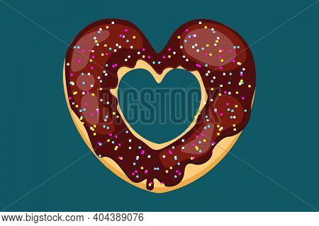 Bright Donut In The Shape Of A Heart. Vector Donut With Sugar Sprinkles. Chocolate Donut