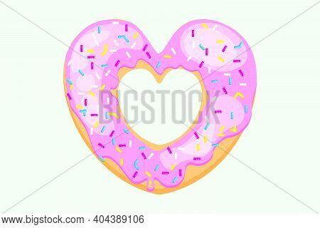 Bright Donut In The Shape Of A Heart. Vector Donut With Sugar Sprinkles. Pink Donut