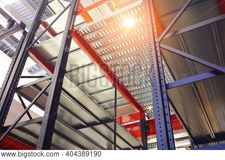 Empty Rack At Logistics Warehouse Or Storehouse
