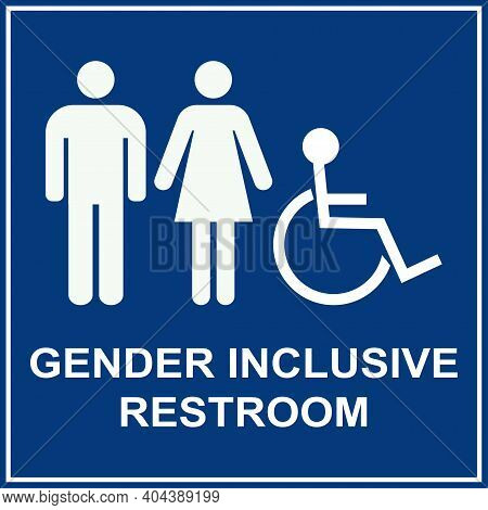 Gender Inclusive Restroom Sign. White On Blue Background. Toilet Signs And Symbols.