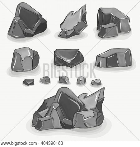 Rock Stone Big Set Cartoon. Stones And Rocks In Isometric 3d Realistic Style. Rocks And Stones Set,