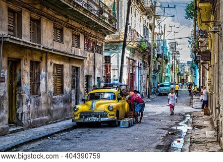 Havana, Cuba, July 2019, Urban Scene By Jesus Maria Street In The Oldest Part Of The City