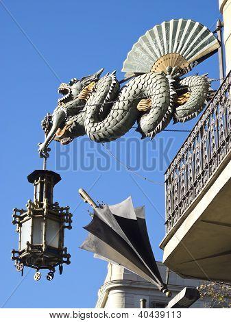 Chinese Dragon In The Ramblas, Barcelona