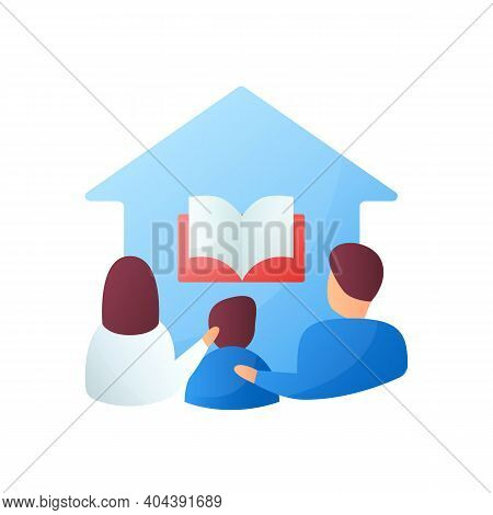 Homeschooling Family Flat Icon. Parents And Child Spend More Time Together. Online Education Concept