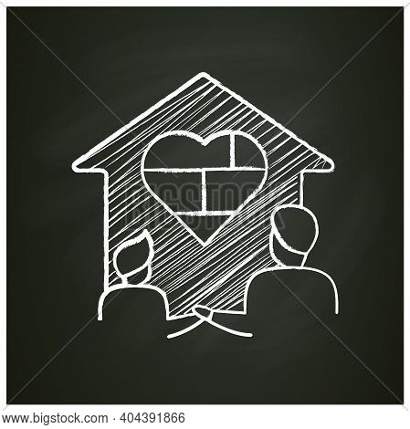 Homeschool Together Chalk Icon. Building Stronger Relationship. Online Education Concept. Distant Re