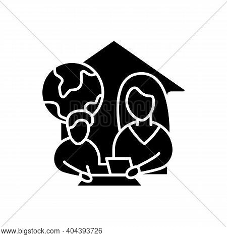 Geography Lesson Glyph Icon. Child Teaches Geographics With Mother. Home Education Concept. Distant