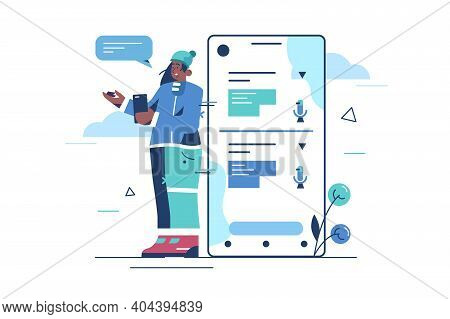 Online Voice Translator Vector Illustration. E-learning, Translate Languages Or Audio Guide. Artific