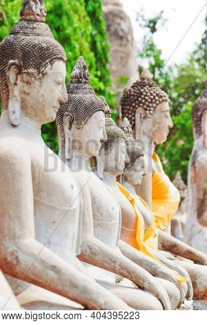 Lot Of Buddha Statues With Yellow Scarves In Green Foliage Jungle Background In Thailand. Second Fro