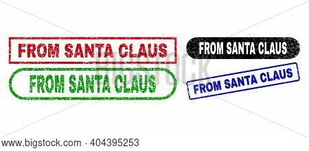 From Santa Claus Grunge Stamps. Flat Vector Grunge Seal Stamps With From Santa Claus Slogan Inside D