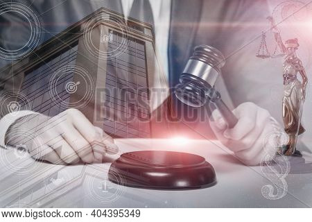 Concept Of Justice And Legality. Judge Delivers A Criminal Verdict.