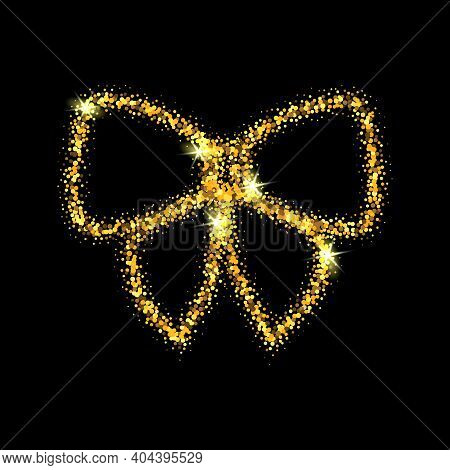 Gold Glitter Vector Icon Of Bow Tie Isolated On Black Background. Art Creative Concept Illustration