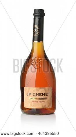 Samara, Russia - January 2021. Product shot of  JP Chenet Grande Noblesse french brandy bottle isolated on white