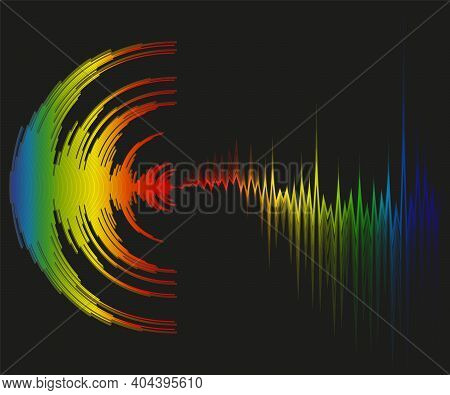 Abstract Colorful Music Background With Dynamic Waves. Poster With Neon Rainbow Sound Wave Design. D