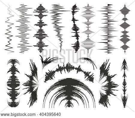Big Black Music Wave Elements Set. Audio Waveform Digital Technology Collection. Flat Isolated Sound