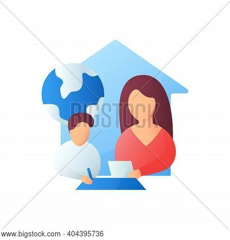 Geography Lesson Flat Icon. Child Teaches Geographics With Mother. Home Education Concept. Distant R