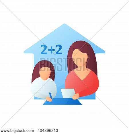 Mathematics Lesson Flat Icon. Child Teaches Math With His Mother. Home Education Concept. Distance L