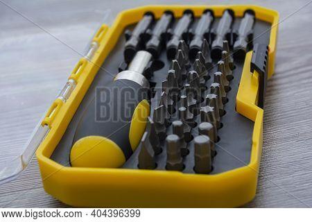 Screwdriver Bit Set. Metal Bits For Screwdriver Boxes. A Set Of Tools For Home Use. Screwdriver Bits
