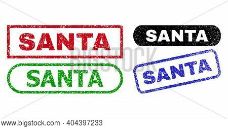 Santa Grunge Seals. Flat Vector Scratched Seals With Santa Caption Inside Different Rectangle And Ro