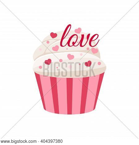 Valentines Day Cupcake Icon Isolated On White Background. Cute Sweets Food - Party Homemade Muffin W