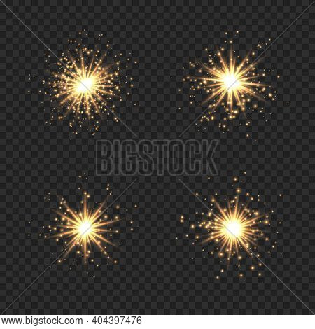 Collection Of Star Burst With Sparkles. Golden Light Flare Effect With Sparkles And Glitter Isolated