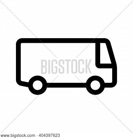 Commercial Vehicle And Transit Car Outline Icon Isolated On White Background.