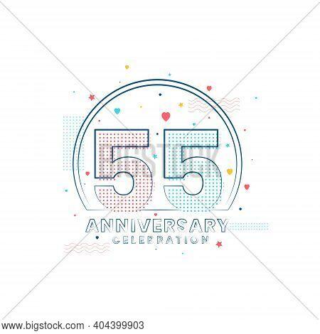 55 Years Anniversary Celebration, Modern 55 Anniversary Design Vector Illustration