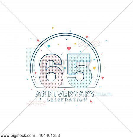 65 Years Anniversary Celebration, Modern 65 Anniversary Design Vector Illustration