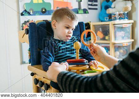 Activities For Kids With Disabilities. Preschool Activities For Children With Special Needs. Boy Wit