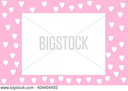 Valentines Day. Picture Frame. Pink Valentine's Day Picture Frame with White Hearts. Room for Image or text. February 14th is the day for Lovers World Wide. Happy Valentines Day.