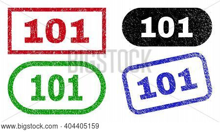 101 Grunge Watermarks. Flat Vector Distress Watermarks With 101 Caption Inside Different Rectangle A