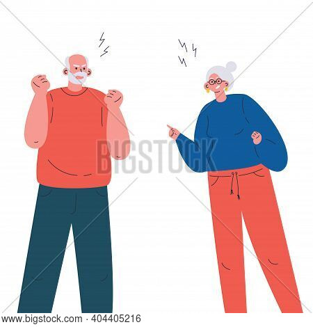 Old Aggressive Man And Woman Parents Yelling And Quarrel. The Psychological Concept Of Family Quarre