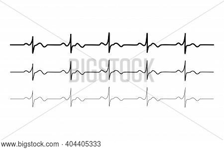Vector Black Normal Healthy Heart Rhythm Set, Electrocardiogram, Ecg - Ekg Signal, Heartbeat Pulse L