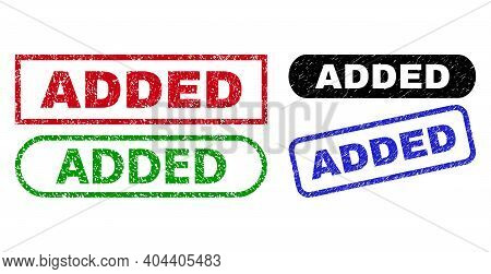 Added Grunge Seal Stamps. Flat Vector Grunge Stamps With Added Phrase Inside Different Rectangle And