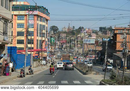 Kathmandu, Nepal, March 16 2020: Cityscape And Crowded Streets Of The City Of Kathmandu Nepal Asia